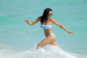 Padma Lakshmi in a bikini on the beach in Miami, Florida - December 8, 2012