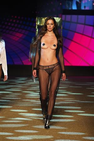 Morgane Dubled topless with just pasties on the runway at the Etam Spring/Summer 2018 show in Paris, 09/26/2017.