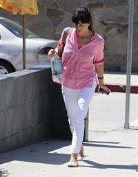Selma Blair in red and white in Beverly Hills August 24, 2012