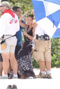 Minka Kelly films Charlies Angel's on a beach in Miami 02-09-2011