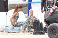 Minka Kelly and Rachael Taylor film Charlie's Angels on a beach in Miami 02-09-11