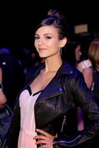 Victoria Justice at the Rebecca Minkoff fashion show during Mercedes-Benz Fashion Week Spring 2015 on September 5, 2014
