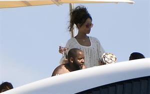 Rihanna enjoying a break on a yacht in Ponza August 29, 2014