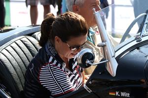 Katarina Witt at the oldtimer car rally Hamburg-Berlin-Klassik August 30, 2014