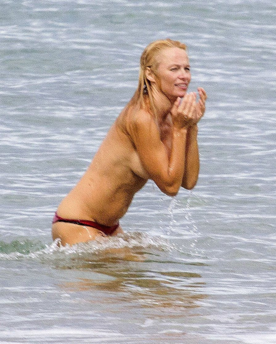 Pam anderson at topless beach, popa chubby last