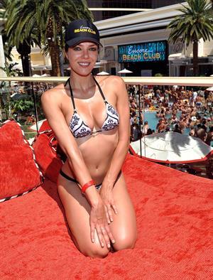 Adrianne Curry in a bikini at the Encore Beach Club in Las Vegas August 16, 2014