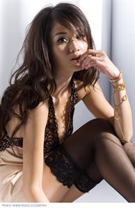 Qiao En Chen in lingerie