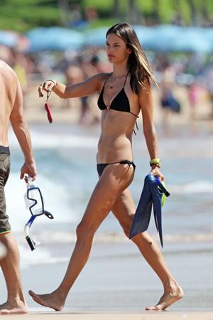 Alessandra Ambrosio in a black bikini on the beach in Maui October 8, 2011