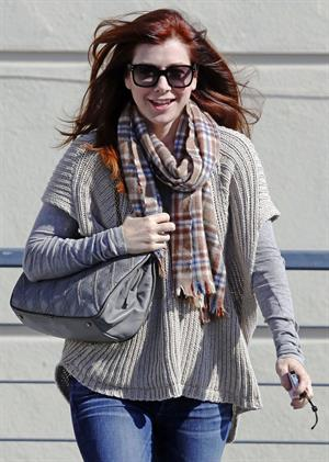 Alyson Hannigan running errands in Brentwood on November 05, 2011