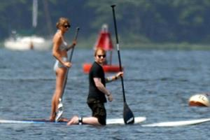 Taylor Swift paddleboarding in Westerly, Massachusetts 7/28/13