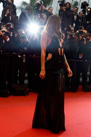 Irina Shayk in a revealing dress, showing a ton of side boob at the 'All is Lost' premiere at Cannes