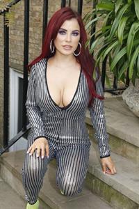 Carla Howe braless boobs showing nice cleavage in London.