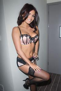 India Reynolds topless and in black and pink lingerie