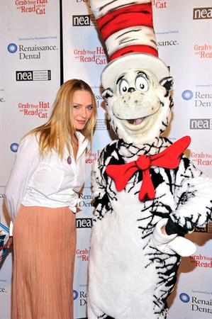 Uma Thurman joins Cat In The Hat On NEA's Read Across America Day at New York Public Library (01.03.0213)