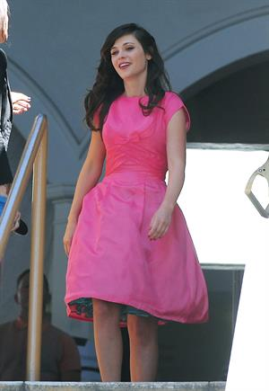 Zooey Deschanel On Set of a Music Video Shooting in Los Angeles April 16, 2013