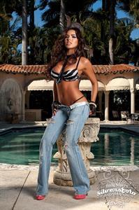 Francesca Frigo in Sexy Ripped Jeans and Black and White Bikini