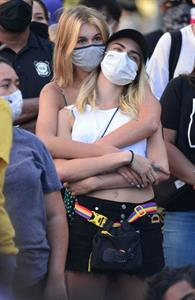 Kaia Gerber and Cara Delevingne are seen holding each other at a Black Lives Matter Protest. Famous lesbian Cara has been with a lot of the hottest female celebs.